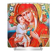 Roses And Holy Family Shower Curtain