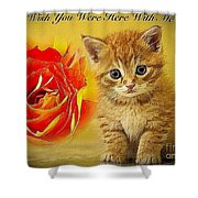 Roses And Kittens Textured Shower Curtain