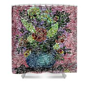 Roses And White Lilacs Digital Painting Shower Curtain