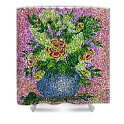 Roses And White Lilacs Lacy Bouquet Digital Painting Shower Curtain