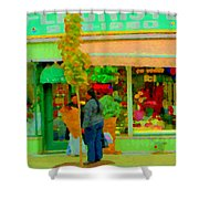 Roses At The Flower Shop Fleuriste Coin Vert Rue Notre Dame Springtime Scenes Carole Spandau Shower Curtain