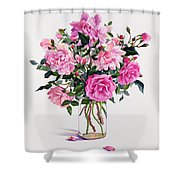 Roses In A Glass Jar  Shower Curtain by Christopher Ryland