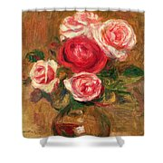 Roses In A Pot Shower Curtain by Pierre Auguste Renoir