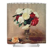 Roses In A Vase With Stem Shower Curtain