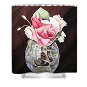 Roses In The Glass Vase Shower Curtain