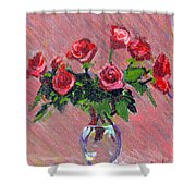 Roses On Pink Shower Curtain
