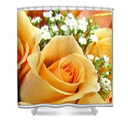 Roses Orange Blossoms Shower Curtain
