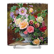Roses Pansies And Other Flowers In A Vase Shower Curtain by Albert Williams