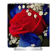 Roses - Red White And Blue Shower Curtain