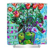 Roses With Apples Shower Curtain