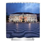 Rossio Square At Night In Lisbon Shower Curtain