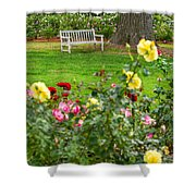 Rosy View - Beautiful Rose Garden Of The Huntington Library. Shower Curtain