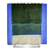 Rothko's No. 14 -- White And Greens In Blue Shower Curtain