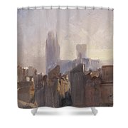 Rouen Cathedral Sunrise Shower Curtain