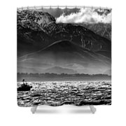 Rough Seas Kaikoura New Zealand In Black And White Shower Curtain