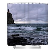 Rough Surf At Split Rock Shower Curtain