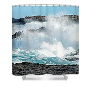 Rough Waves Offshore Whale Point Shower Curtain