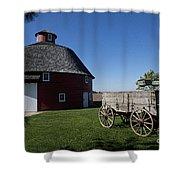 Round Barn Wooden Wagon Shower Curtain