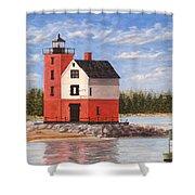 Round Island Light House Shower Curtain