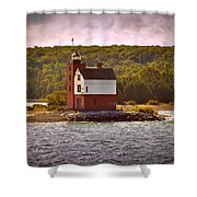 Round Island Lighthouse Shower Curtain