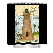 Round Island Lighthouse Ms Nautical Chart Map Art Shower Curtain