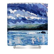 Round Lake Squall Shower Curtain