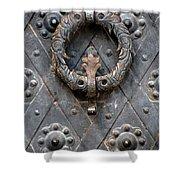 Round Metal Doorknob Shower Curtain