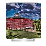 Round Red Barn Shower Curtain