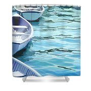 Rounded Row Of Rowboats Shower Curtain