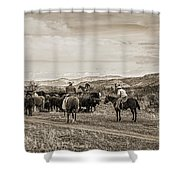 Rounding Up Cattle In Cornville Arizona Sepia Shower Curtain