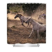 Rounding Up Horses On The Ranch Shower Curtain