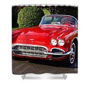 Route 66 - 1961 Corvette Shower Curtain