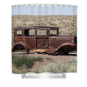 Route 66 - Abandoned Car Shower Curtain