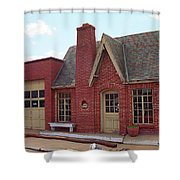Route 66 - Cottage Style Gas Station Shower Curtain