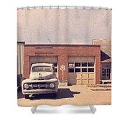 Route 66 Garage Shower Curtain