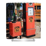 Route 66 Gas Pumps Shower Curtain