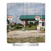 Route 66 Gas Station With Sponge Painting Effect Shower Curtain