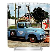 Route 66 - Gas Station With Watercolor Effect Shower Curtain by Frank Romeo