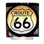 Route 66 Lighted Sign Shower Curtain