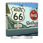 Route 66 - Mural With Shield Shower Curtain