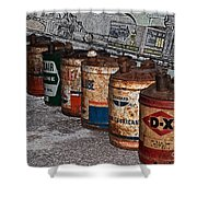 Route 66 Odell Il Gas Station Oil Cans Digital Art Shower Curtain