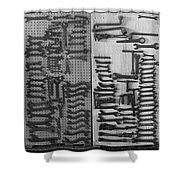 Route 66 Odell Il Gas Station Tools Black And White Shower Curtain