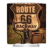 Route 66 Raceway Shower Curtain