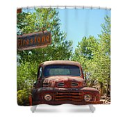 Route 66 Truck Shower Curtain