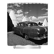 Route 66 Wigwam Motel And Classic Car 5 Shower Curtain