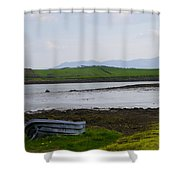 Row Boat At Low Tide - County Mayo Ireland Shower Curtain