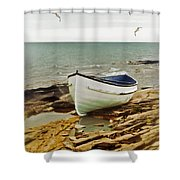 Row Boat On Rocky Shore Shower Curtain