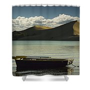 Row Boat On Silver Lake With Dunes Shower Curtain