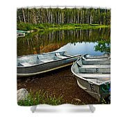 Row Boats Lining A Lake In Mammoth Lakes California Shower Curtain