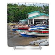 Row Boats On Beach Shower Curtain